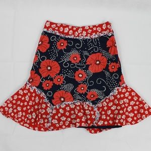 Odille Women's Size 4 Red & Blue Floral Skirt